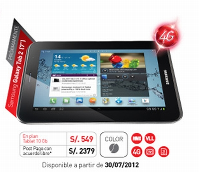 Galaxy Tab 2 de claro