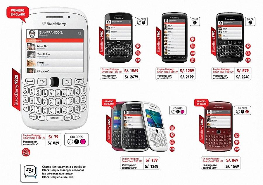 Móviles blackberry de Claro