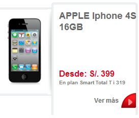 iPhone 4S de 16GB de claro